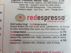 menu items under redespresso